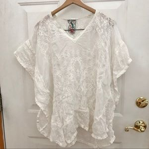 M Johnny Was White Embroidered Eyelet Ponc…